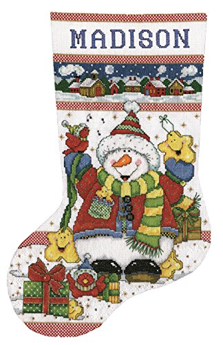 Tobin DW5974 14 Count Snowman Fun Stocking Counted Cross Stitch Kit, 17-Inch -