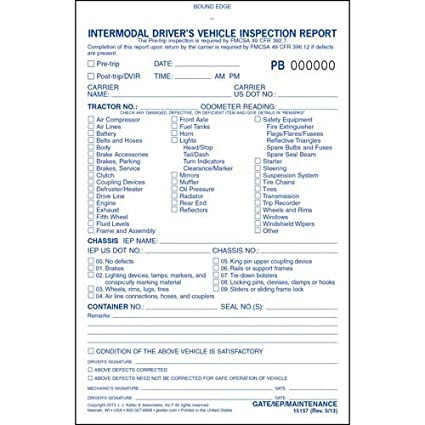 Intermodal Drivers Vehicle Inspection Report