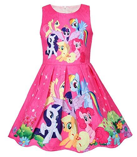 Girls Unicorn Dress Costumes Fancy Birthday Party Dress up (Pony red, 5Y)
