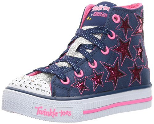 Skechers Kids Girls' Shuffles-Rockin Stars Sneaker,Navy/hot Pink,1.5 M US Little Kid