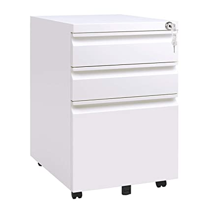 Amazon.com : DEVAISE Locking File Cabinet, 3 Drawer Rolling Metal Filing  Cabinet, Fully Assembled Except Wheels, White : Office Products