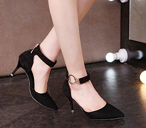 Sangle Scothen Schluepfen Party Sandales Fête De Cheville Black Avec Peep Talons Boucle Chaussures Croix Toe Mariage Sexy Grandes Mesdames Chevilles rTCpqr