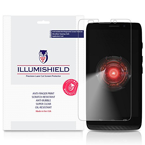 iLLumiShield - Motorola Droid MAXX Screen Protector Japanese Ultra Clear HD Film with Anti-Bubble and Anti-Fingerprint - High Quality (Invisible) LCD Shield - Lifetime Replacement Warranty - [3-Pack] OEM / Retail Packaging