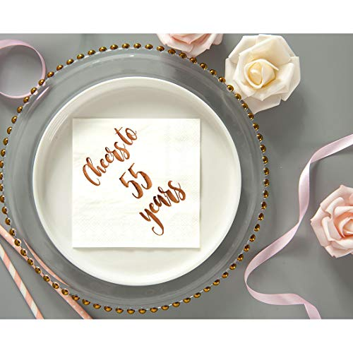 50-Pack 3ply White Rose Gold 25th Birthday Dinner Celebration Party Decoration Napkin Cheers to 25 Years Cocktail Napkins