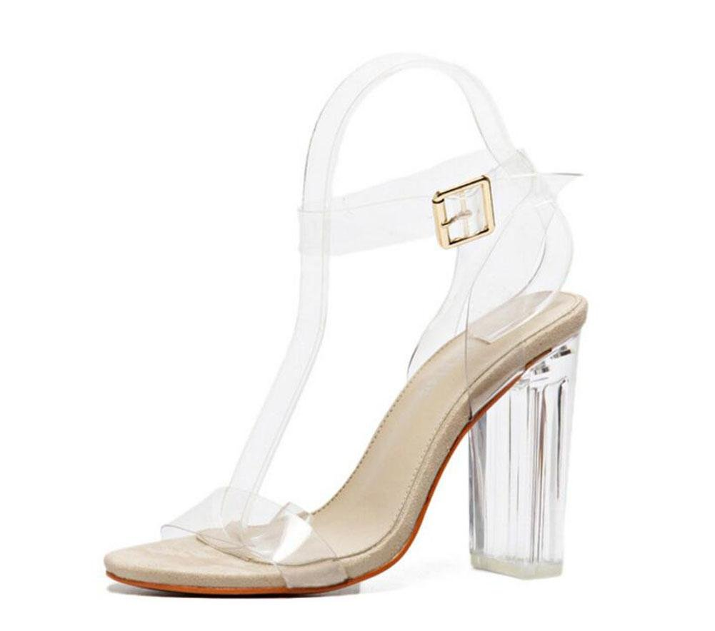 GLTER Mujeres Ankle Strap Bombas Tacones Altos Word Open-Toed Pasarela Show Crystal Shoes Transparente Thick Shoes Sandalias al aire libre , champagne , 35 35|champagne