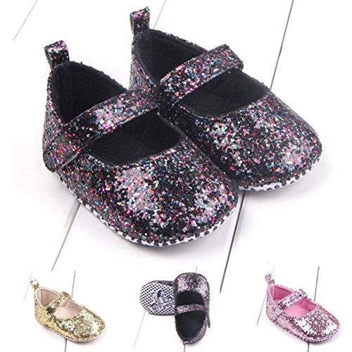 HUHU833 Kinder Mode Mädchen Schuhe Soft Sole Schuhe Kleinkind Schuhe Sequins Baby Schuhe Freizeitschuhe Schwarz
