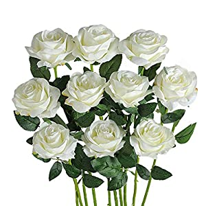 FLORRALIA Artificial Roses for Decorations White Artificial Flowers Roses Long Stem Artificial Fake Rose for Wedding Party Home Decor/Off White Silk Roses