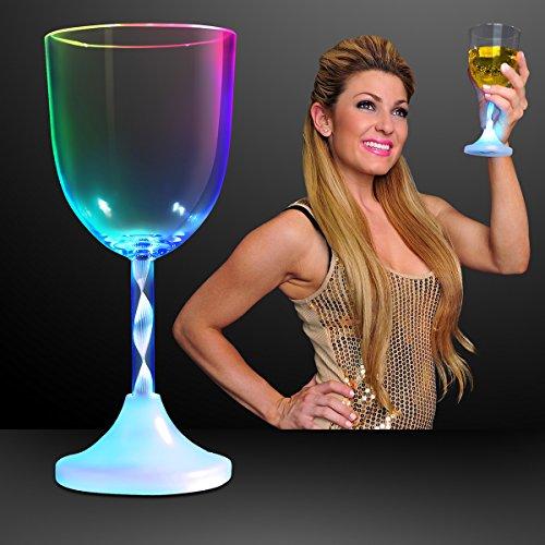 (Light Up Wine Glasses with Color Changing LED Light & Long Spiral Stem (Set of)