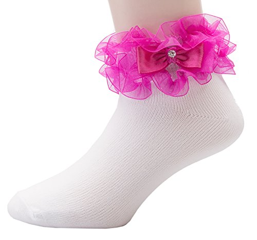 Olivia Lace Trim (OLIVIA KOO Girl's Organza Multi Ruffle Top Anklet Socks (Infant to 11 Years))