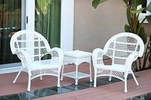 Jeco W00209-C_2-CES 3 Piece Santa Maria Wicker Chair Set, White For Sale