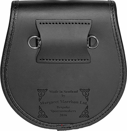 MacRitchie Semi Sporran Fur Plain Leather Flap Scottish Clan Crest