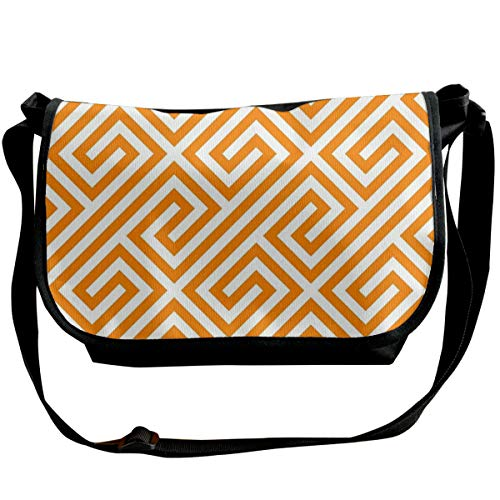 Taslilye Orange Greek Keys Geometric Pattern Personalized Wide Crossbody Shoulder Bag For Men And Women For Daily Work Or Travel