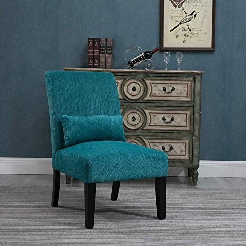 - HomeSailing Living Room Accent Occasional Chairs Teal Blue for Bedroom Comfy Armless Fabric Velvet Upholstered High Back Recliner Chairs for Spare Room Furniture Leisure Chair (Single Teal Blue)