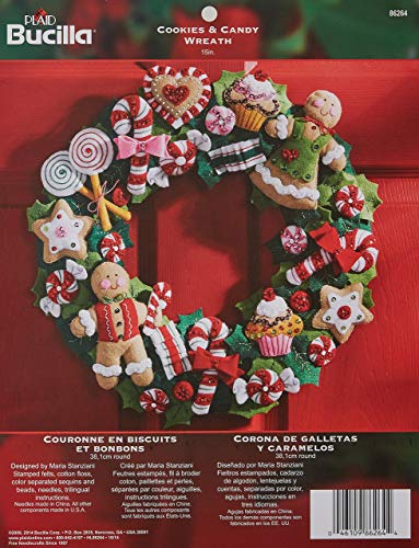 Christmas Holiday Cookie Ornament - Bucilla Felt Applique Wreath Kit, 15-Inch Round, 86264 Cookies & Candy