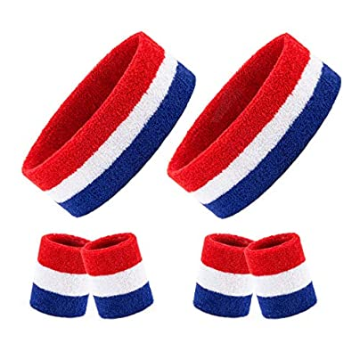Homfshop Pieces Striped Sweatbands Set Includes Pieces Sports Headband Pieces Wristbands Sweatbands Colorful Cotton Striped Sweatband Set American Flag Style Men Women Estimated Price £7.03 -