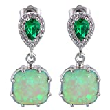 Amazing Green Fire Opal Silver Stamped Drop Earring for Women Fashion Jewelry (Silver) - Best Reviews Guide
