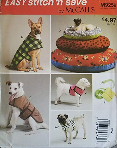 (McCall's M9256 Easy Stitch & Save Dog Bed, Leash, Case, Harness Vest & Coat)