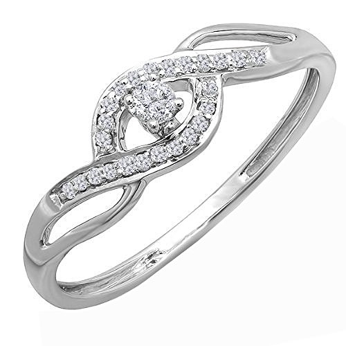 Dazzlingrock Collection 0.12 Carat (ctw) 10K Round Diamond Ladies Criss Cross Engagement Promise Ring, White Gold, Size -