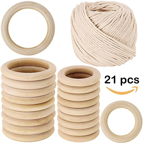 """2 Size 20 PCS Unfinished Solid Wooden Rings Wooden Teething Ring Natural Wood Teething Rings and 109 yard Macrame Cotton Cord twisted cotton rope,1/6"""" (Wooden Craft Supplies)"""