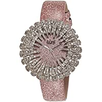 Burgi Women's BUR112LP Crystal Accented Silver Quartz Watch with Light Pink Dial and Pink Bracelet