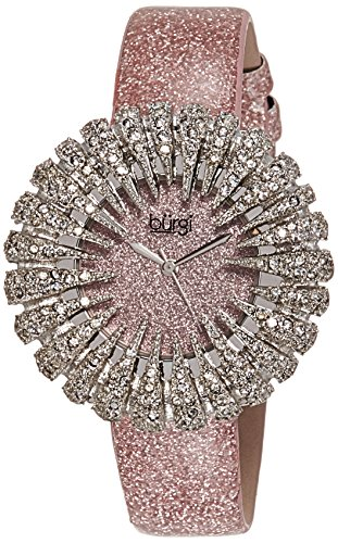 Burgi Women's BUR112LP Crystal Accented Silver Quartz Watch with Light Pink Dial and Pink Bracelet (Dial Light Womens Silver)