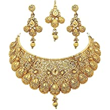 Royal Bling Bollywood Traditional Indian Jewelry Temple Necklace With Earrings Set for Women