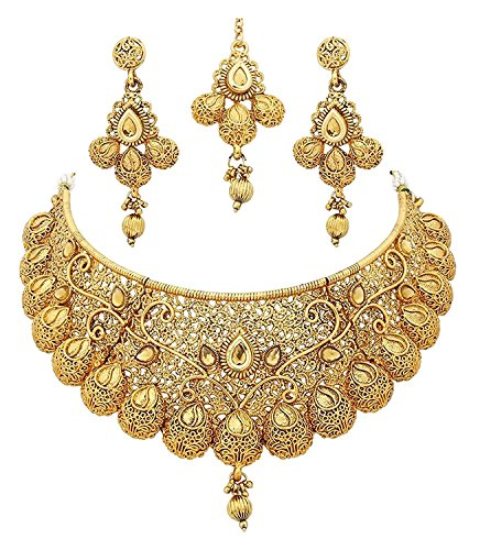 Crunchy Fashion Royal Bling Bollywood Traditional Indian Jewelry Temple Necklace With Earrings Set for Women by Crunchy Fashion