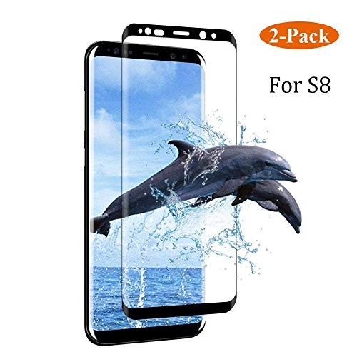 Dopoo Galaxy S8 Screen Protector [2 Pack], S8 Tempered Glass Guard Film Screen Film HD Clear 3D Curved Full Coverage Screen Saver[9H Hardness, Anti-Scratch, Anti-Bubble](NOT for S8 Plus)