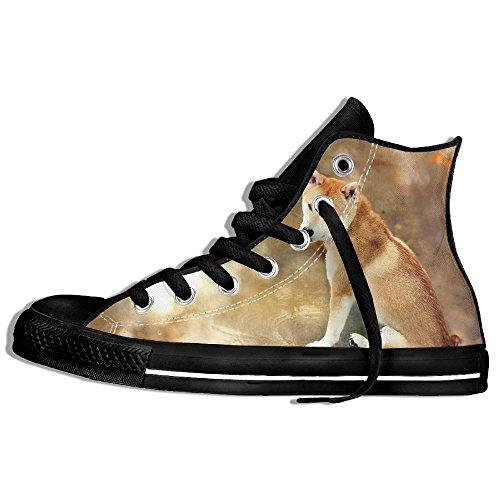 Classiche Sneakers Alte Scarpe Di Tela Antiscivolo Cane Casual Da Passeggio Per Uomo Donna Nero