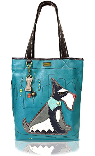 CHALA Everyday Tote Women Handbag, Purse for Work or School, Shoulder Bag Totes with Detachable Keychain (Turquoise Tote-Shnauzer Dog)