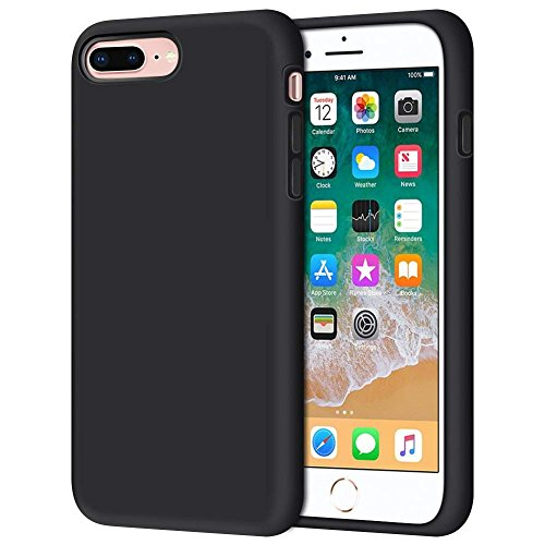 iPhone 8 Plus Case, iPhone 7 Plus Case, Anuck Soft Silicone Gel Rubber Bumper Case Microfiber Lining Hard Shell Shockproof Full-Body Protective Case Cover for iPhone 7 Plus /8 Plus 5.5 - Black