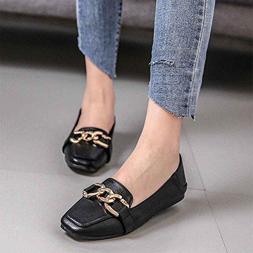 Shoes Flats Petticoat Women's LIURUIJIA Flat classicSquare Ballet Black Dress Plaid x8PPBw