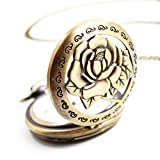 Flower Series Steampunk Quartz Pocket Watch Fob Retro Half Hunter Scale Pendant Pocket Watches Chain & Necklace for Women