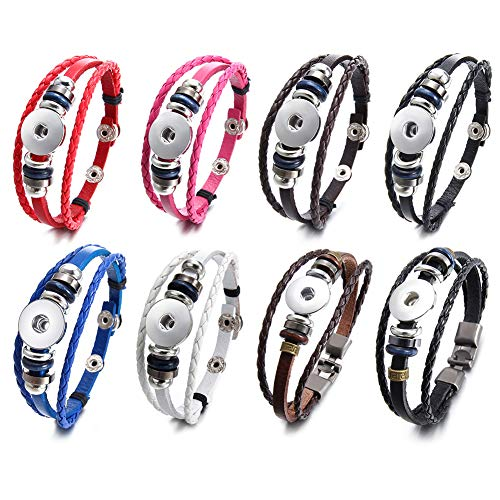 Soleebee PU Leather Alloy Snap Button Jewelry Bracelet fit 18-20mm Snap Charms (Pack of 8)