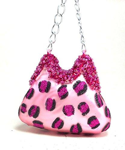 Beaded Leopard Clutch - Clutch Purse Ornament Pink Leopard Print Beaded Glass