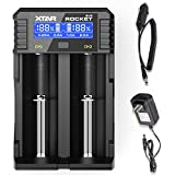18650 Smart Fast Battery Charger, XTAR SV2 Universal Battery Charger with Wall Adaptor & Car Charger for Rechargeable Li-ion IMR INR ICR 18650 26650 20700 21700 22650, Ni-MH/Ni-Cd AAAA AAA AA A SC C D
