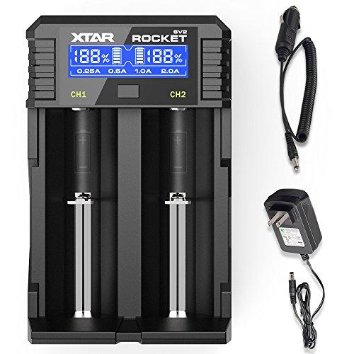 18650 Smart Fast Battery Charger, XTAR SV2 Universal Battery Charger Wall Adaptor & Car Charger Rechargeable Li-ion IMR INR ICR 18650 26650 20700 21700 22650, Ni-MH/Ni-Cd AAAA AAA AA A SC C D (Rocket Aa Batteries)