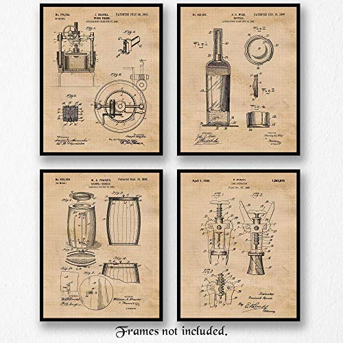 Vintage Wine Patent Art Poster Prints, Set of 4 (8×10) Unframed Photos, Great Wall Art Decor Gifts under 20 for Home, Office, Studio, Bar, Shop, Man Cave, Student, Teacher, Cheese & Sommelier Fan