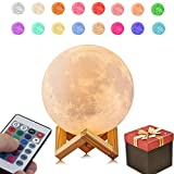 Hilifeone Full Moon Lamp, 3D Printed Moon Light Lamp, Baby Night Light Table Desk Lamp USB Charging, Wireless Control 16-Colors Dimmable Switch for Bedroom Birthday Decor, Diameter 4.7 inch