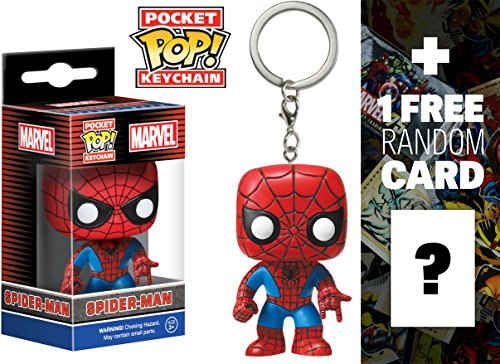 Spider-Man: Pocket POP! x Marvel Universe Mini-Figure Keychain + 1 FREE Official Marvel Trading Card Bundle -