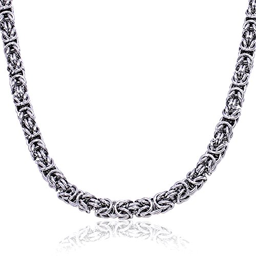Antiqued Silver Chain Necklace - Men stainless steel Silver Color BALI Byzantine Antiqued necklace chain Link (30)