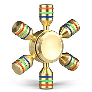 Fidget Hand Spinner Gold Mothca 3-5 Minutes Super Quiet Smooth Fast Spin Rainbow 6 Blades Finger Spinner DIY Colorful Brass Fidget Toy Hand Relieves Perfect For ADHD Anxiety Autism Adult Kids(6 Sided)