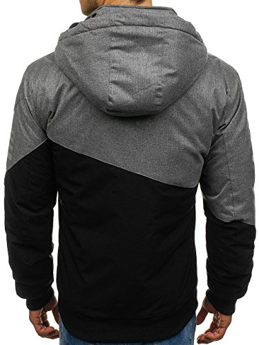 Jacket Transitional Basic Zip Ribbed BOLF Sport Plain 4D4 Quilted Black Mix Men's hh7906 Hood Casual Bomber E0qEwF