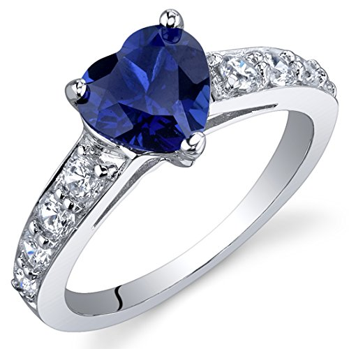 (Dazzling Love 1.75 Carats Created Blue Sapphire Ring in Sterling Silver Rhodium Nickel Finish Size 6)