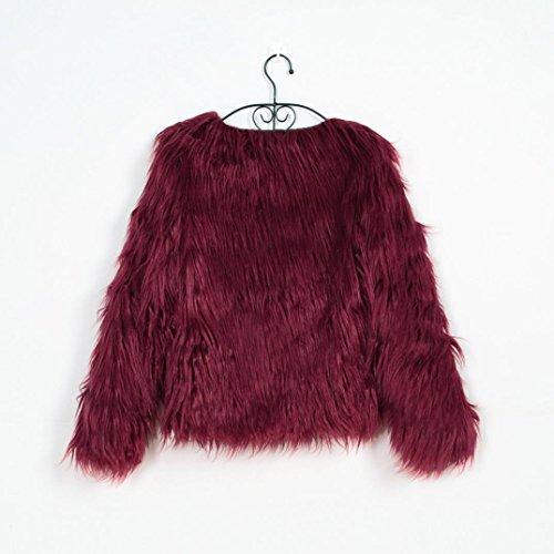 Parka Cálida Piel para de de Mujer Abrigo Sintética de Invierno KaloryWee Mujer Abrigo Chaqueta Rojo qWTCv