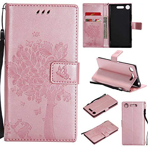 Sony Xperia XZ1 Wallet Case, UNEXTATI Leather Flip Cover Case with Kickstand...