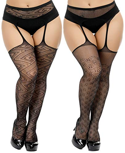 (TGD Womens Plus Size Stockings Suspender Pantyhose Fishnet Tights Black Thigh High Stocking 2Pairs Size(US 8-16) (Black 7893))