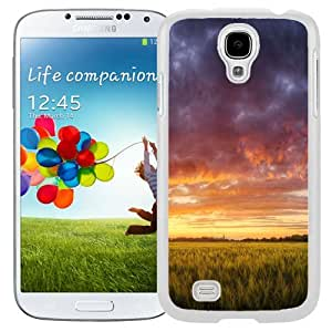 Unique and Fashionable Cell Phone Case Design with Hungary Grain Fields Dramatic Sky Galaxy S4 Wallpaper in White