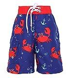 SimpliKids Boys' Fast Drying Sea Creature Sun Protection Swim Trunks, Crab, XL