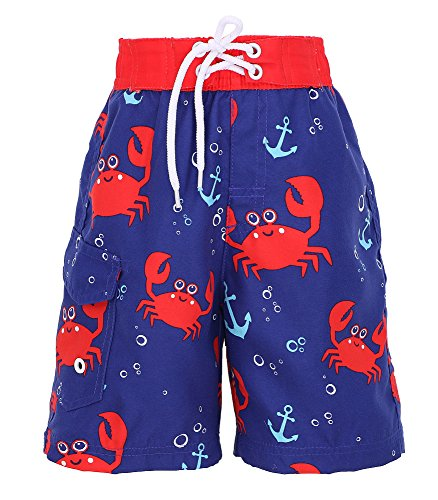 Kids Ultraviolet Camo (SimpliKids Boys' Fast Drying Sea Creature Sun Protection Swim Trunks, Crab, M)